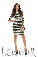Платье в клетку с рукавом ¾
