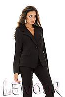Строгий брючный костюм из крепа Черный, Размер 46 (L)