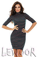 Облегающее платье в полоску из ткани мустанг