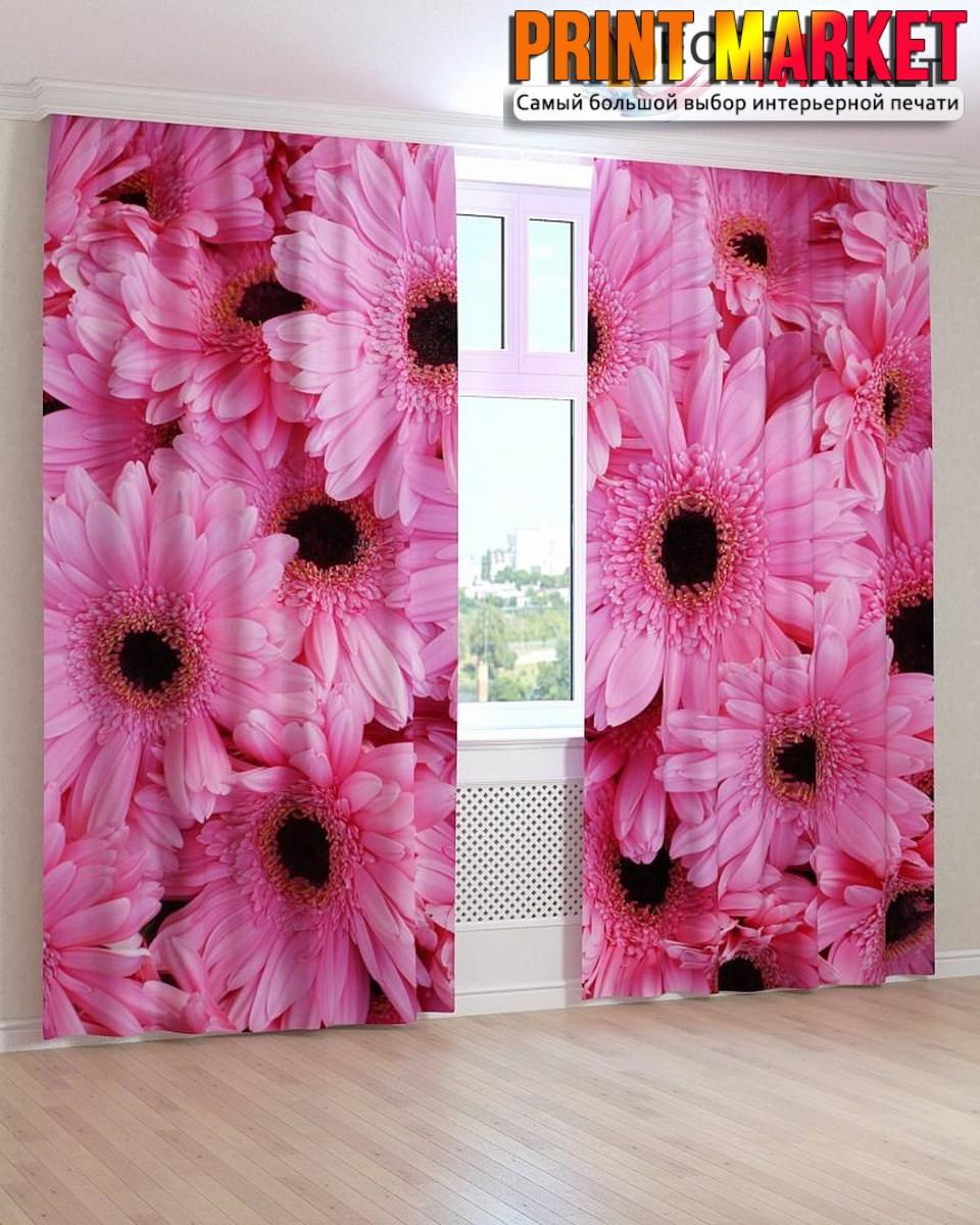 Фотошторы розовые герберы