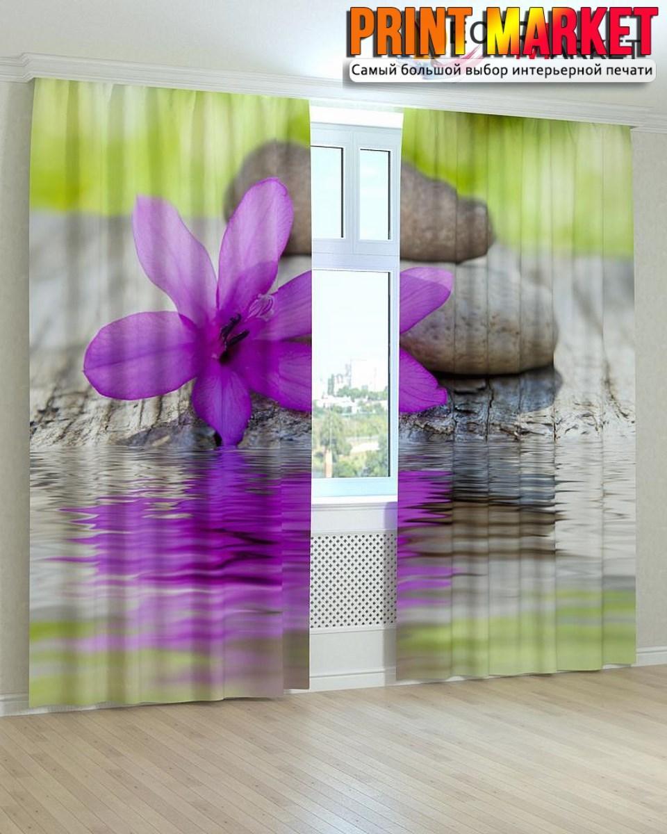 Фотошторы фиолетовый цветок и камни