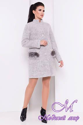 Женское осеннее пальто с мехом на карманах (р. S, M, L) арт. Этель 16902, фото 2
