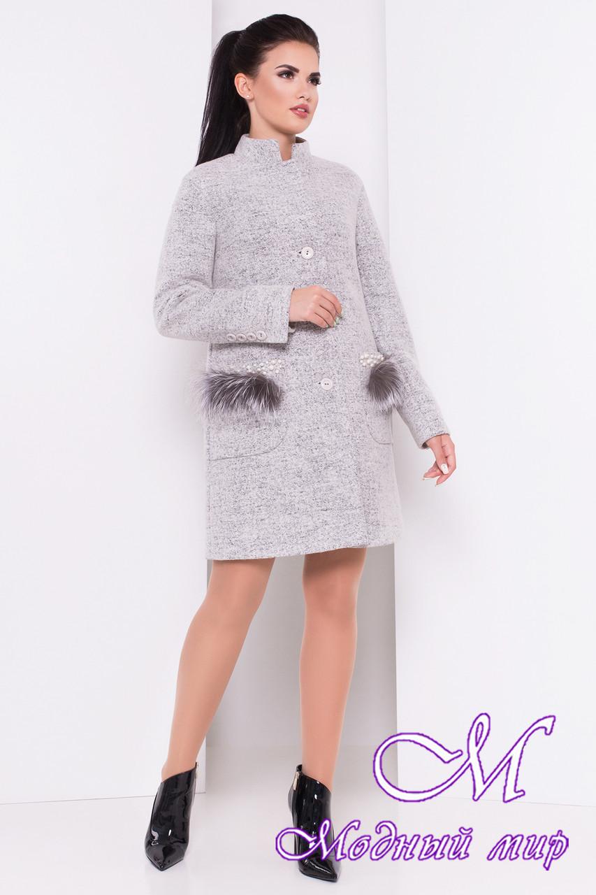 Женское осеннее пальто с мехом на карманах (р. S, M, L) арт. Этель 16902