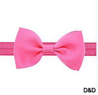 Повязка на голову для девочки, бантик розовый