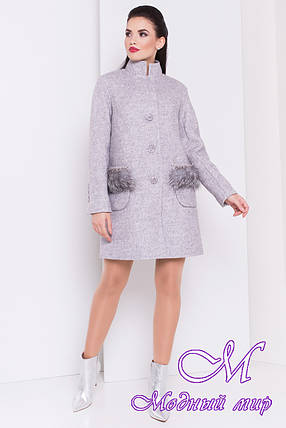Женское демисезонное пальто с мехом на карманах (р. S, M, L) арт. Этель 16907, фото 2