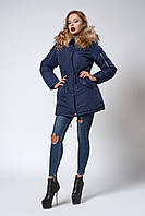 Женская молодежная зимняя парка с мехом енота. Код модели К-105-59-18. Цвет синий. Размеры: S, M, L, XL.