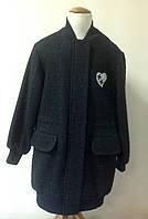 Пальто-парка букле с украшением для девочки Лукас черное с накладными карманами