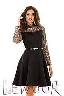 Шикарное платье с гипюровой вставкой