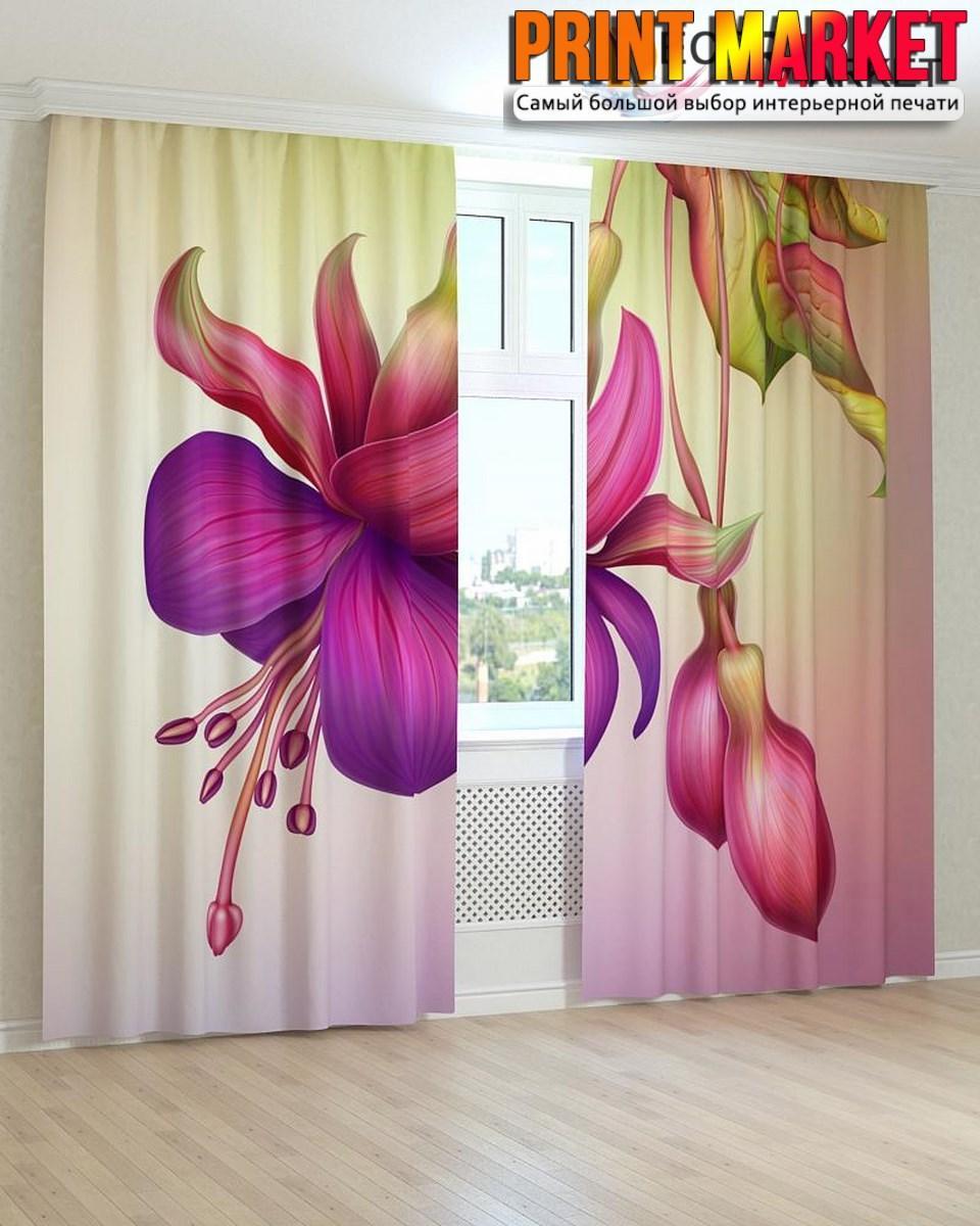 Фотошторы красно-фиолетовый цветок