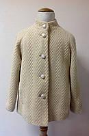 Полу-пальто для девочки золотистое Лукас со стойкой и карманами