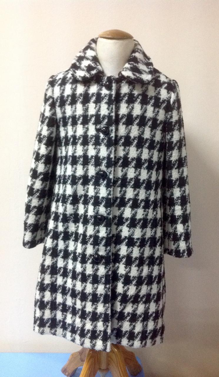 Пальто для девочки класическое Лукас черно-белое, 70% шерсти