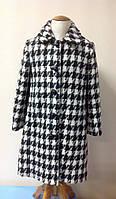 Пальто для девочки класическое Лукас черно-белое, 70% шерсти, фото 1