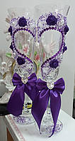 """Свадебные бокалы """"Фиолетовое сердце"""""""