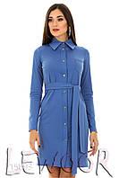 Платье рубашечного кроя из трикотажа под пояс