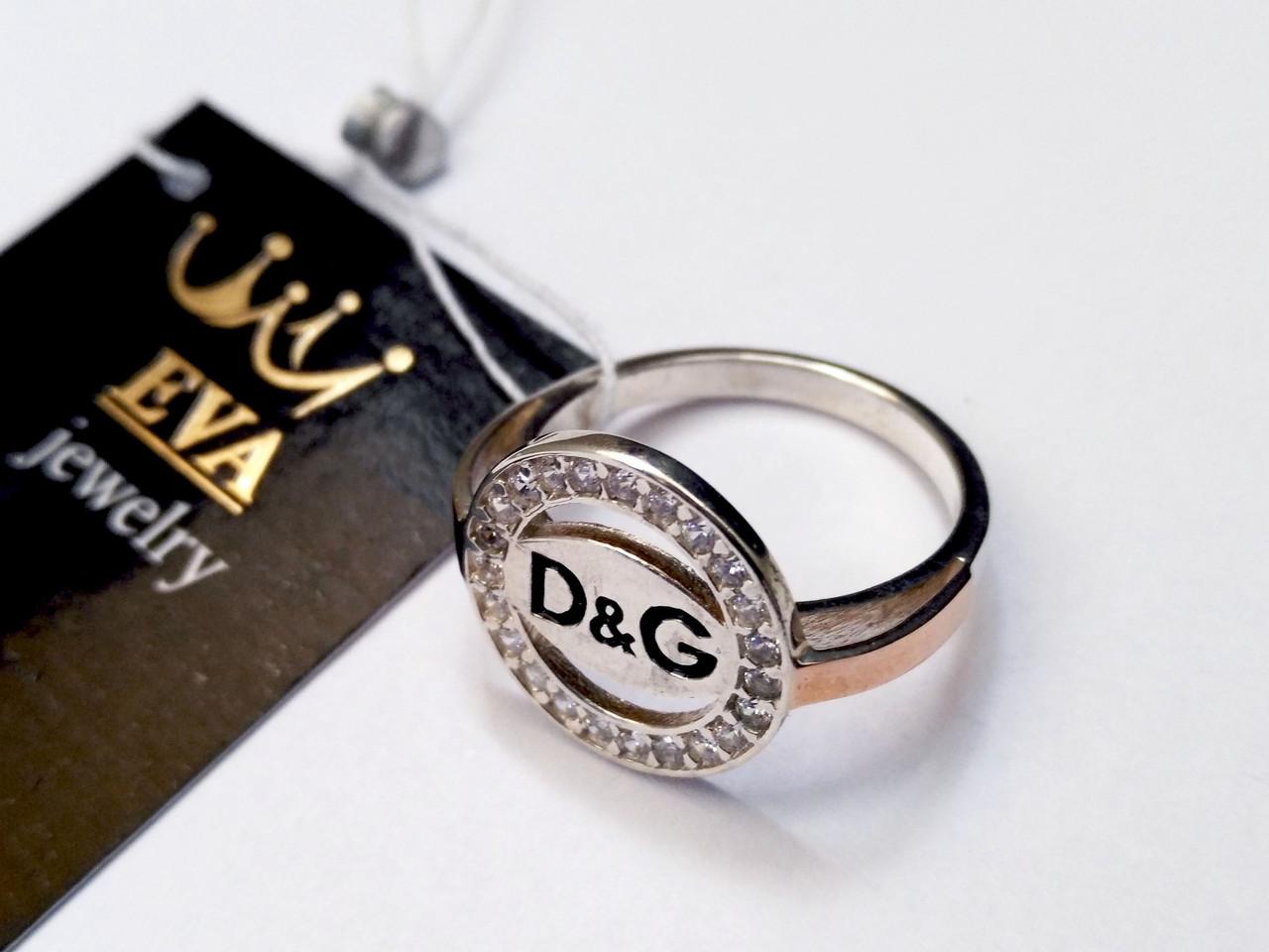 Серебряное кольцо с золотом Дольче