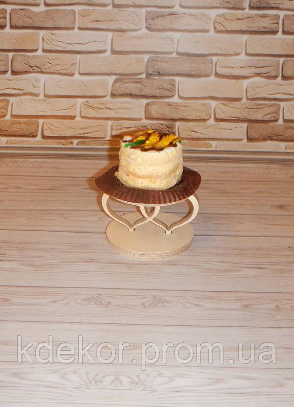 СЕРЦЕ №1 підставка (з двома сердечками) для капкейків (кексів) заготівля для декору