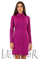 Платье-рубашка на пуговицах с поясом