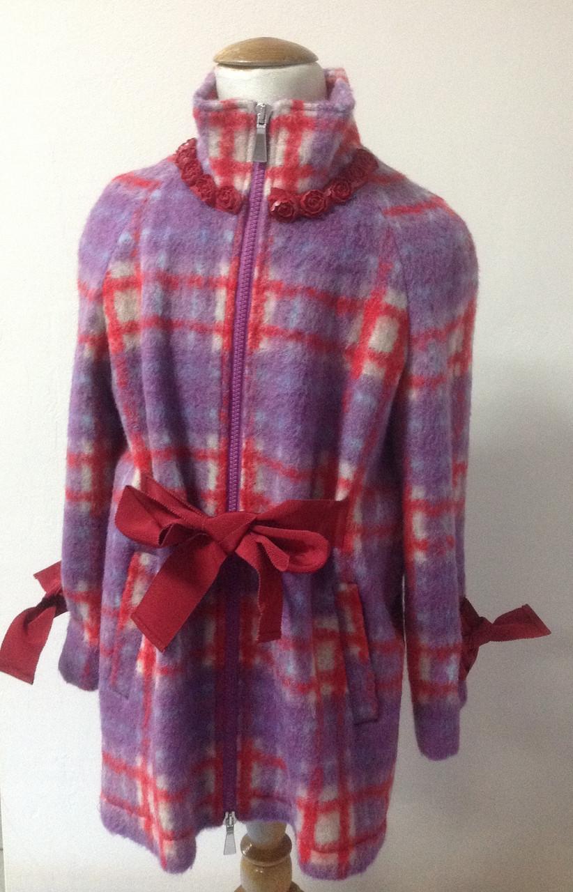 Полу-пальто для девочки мохеровое Лукас в клеточку