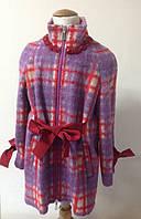 Полу-пальто для девочки мохеровое Лукас в клеточку, фото 1