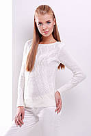 Удобный белый свитер прямого силуэта из качественной мягкой пряжи