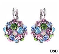 Серьги цветочные кристаллы, фото 1