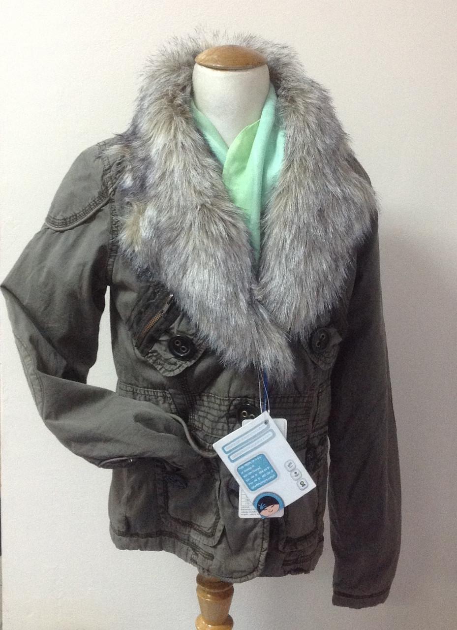 Куртка для девочки-подростка цвета хаки со съемным меховым воротником