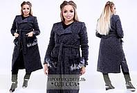 Пальто женское 48+ с украшением на карманах из шерсти ламы арт 1284-538