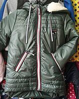 Детская зимняя куртка, на мальчика на овчине 6-10 лет, хаки