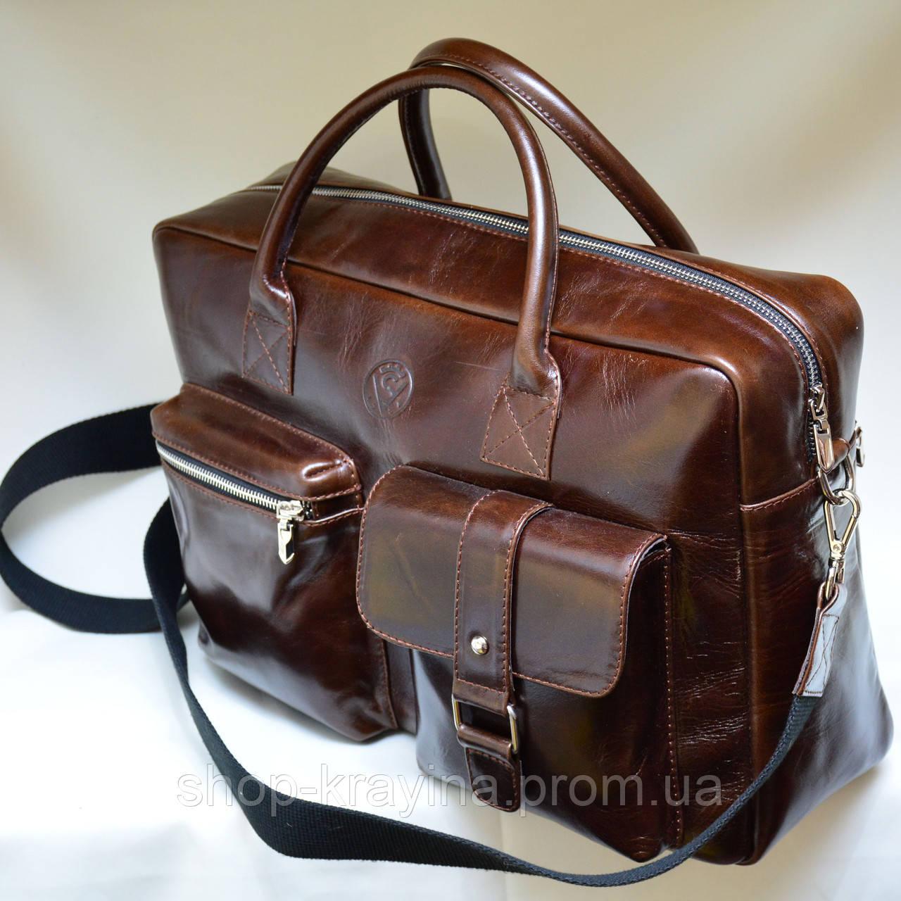 Кожаная сумка VS75  vintage 40х26х10 см