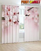 Фотошторы 3Д белые цветы вишни
