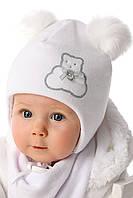 Теплая детская шапочка унисекс Серебристый медвежонок, от MARIKA Польша