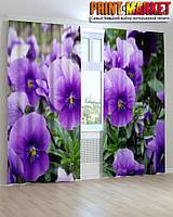 Фотошторы фиолетово-белые цветы 3D