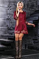 Красивое замшевое платье с юбкой клеш и вышивкой 42-48 размера, фото 1