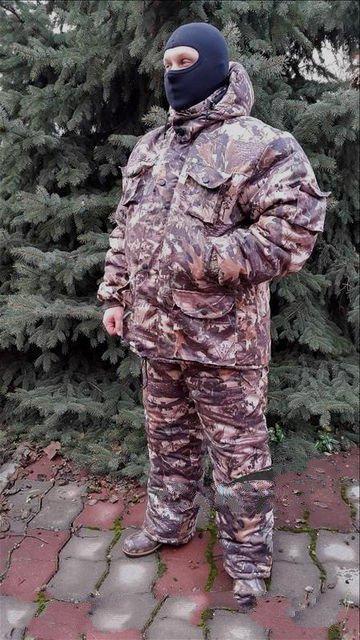 Зимний костюм для рыбалки и охоты Клен Цифра,толстый слой синтипона, водонепроницаемая мембрана алова, -30с