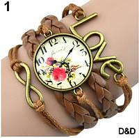 Часы женские, стильные, коричневые 01