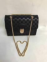 Женская брендовая сумка-клатч на цепочке  Louis Vuitton Луи Виттон черная