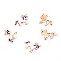 Подвеска Единорог, Золото, Белый & фиолетовый & чёрный с эмалью, Цинковый сплав, 16мм x 14мм