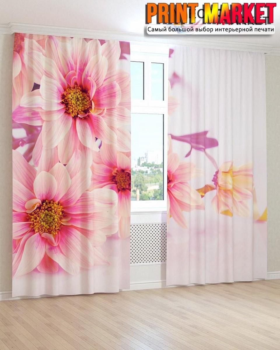 Фотошторы розово-белые цветы 3D