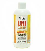 Nila Uni -Cleaner (жидкость для снятия гель-лака,акрила,очищения кистей) молоко и мёд 500мл.