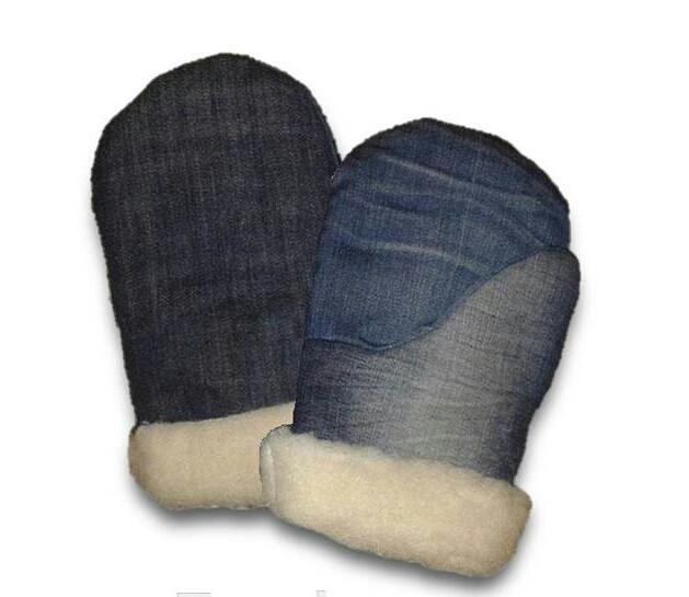 Рукавицы джинсовые с искуссвенным мехом