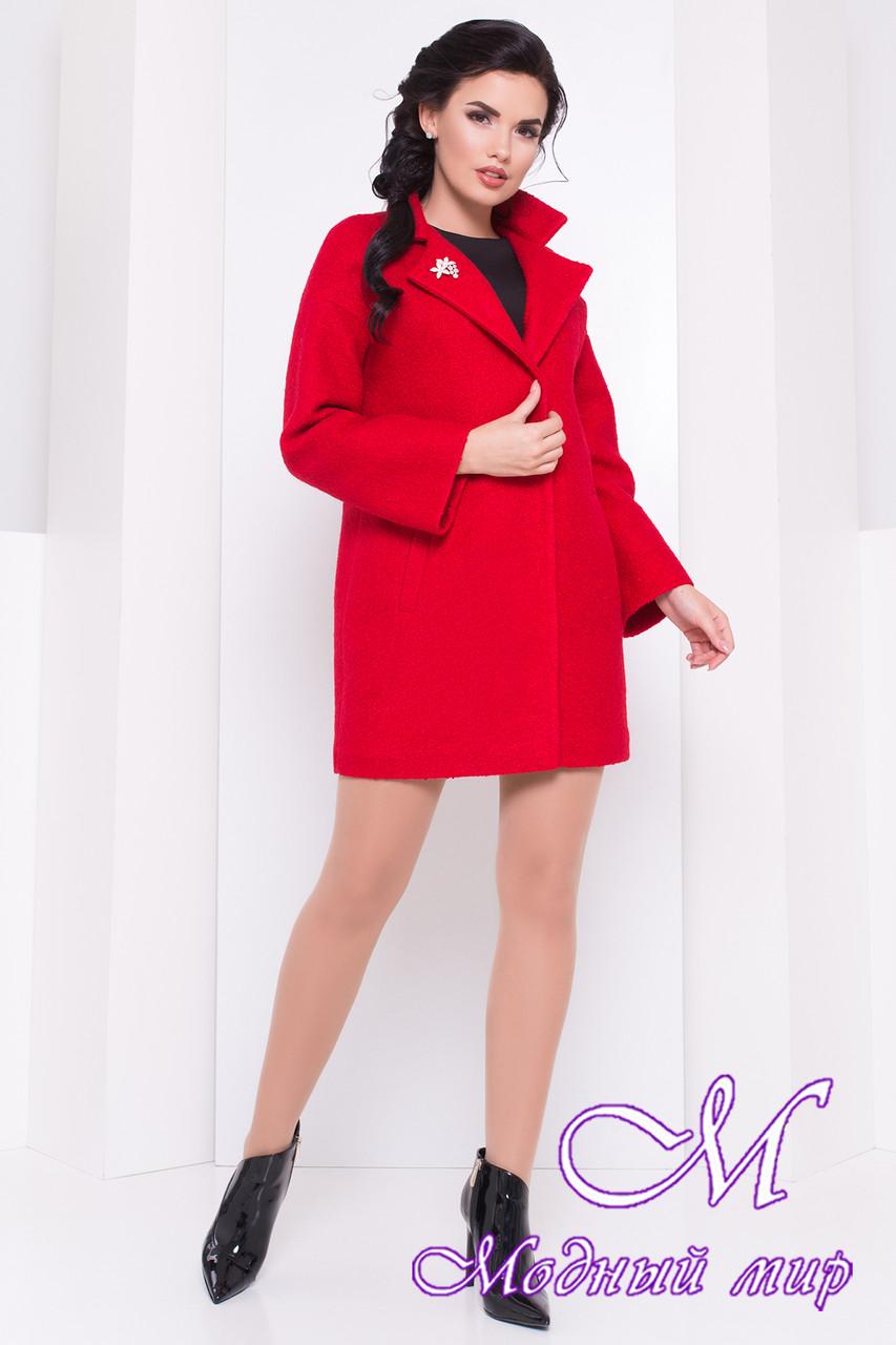 Женское красное весеннее пальто с брошью (р. S, M, L) арт. Кларенс крупное букле - 9797