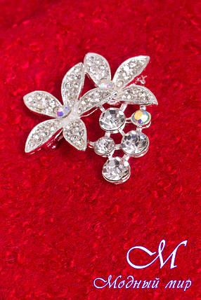 Женское красное весеннее пальто с брошью (р. S, M, L) арт. Кларенс крупное букле - 9797, фото 2