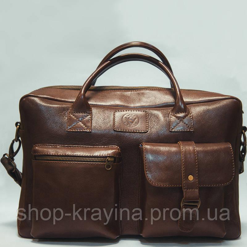 Кожаная сумка VS75  burgundy 40х26х10 см
