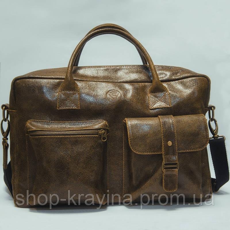 Кожаная сумка VS75  gold 40х26х10 см