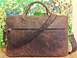 Кожаная сумка VS75  Crazy horse brown 40х26х10 см, фото 2