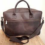 Кожаная сумка VS75  Crazy horse brown 40х26х10 см, фото 3