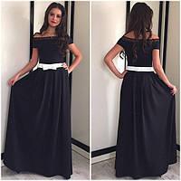 Длинное платье в пол 165см 42-46р черный красный бордо