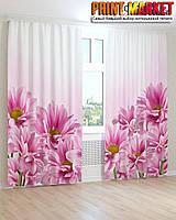 Фотошторы ярко розовые цветы