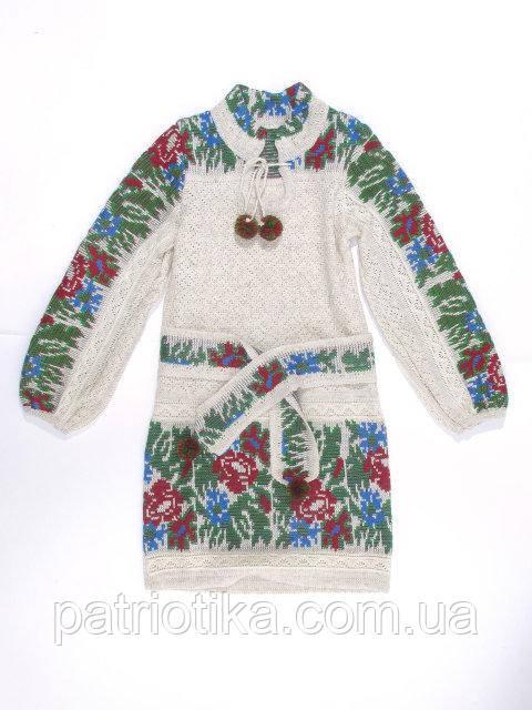 Платье для девочки Маки и васильки малые с кокеткой | Плаття для дівчинки Маки і волошки малі з кокеткою
