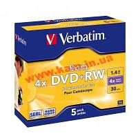 Диск Verbatim DVD+RW 8CM 5pk 4X 1.46GB MATT SILVER, HAR (43565)